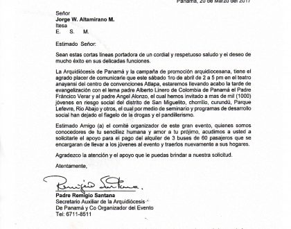 COMUNICADO DE LA ARQUIDIÓCESIS DE PANAMÁ -  ATENTOS A ESTAFADORES