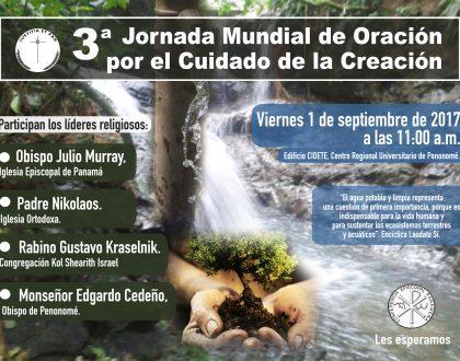 """""""Custodios del agua"""" Jornada Mundial de Oración por el Cuidado de la Creación 2017"""