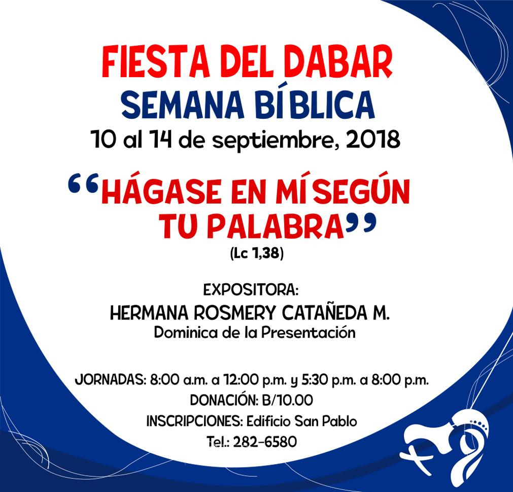 Del 10 al 14 de Septiembre se realizará la Semana Bíblica