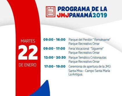 Agenda JMJ: Martes 22 de Enero