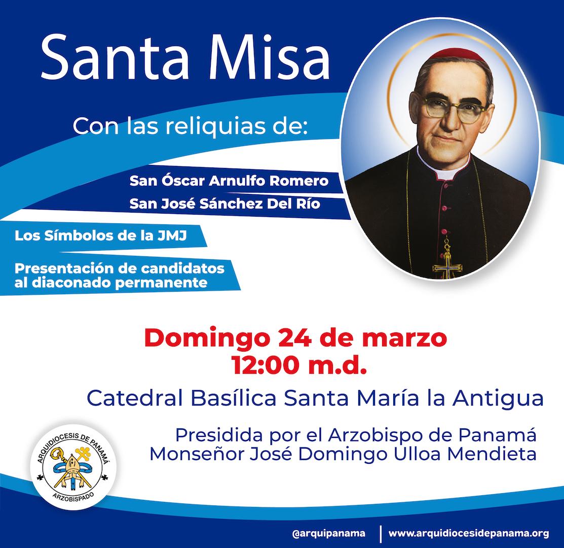 Arzobispo celebrará Eucaristía con los signos de la JMJ  y las reliquias de Óscar Romero y José del Río