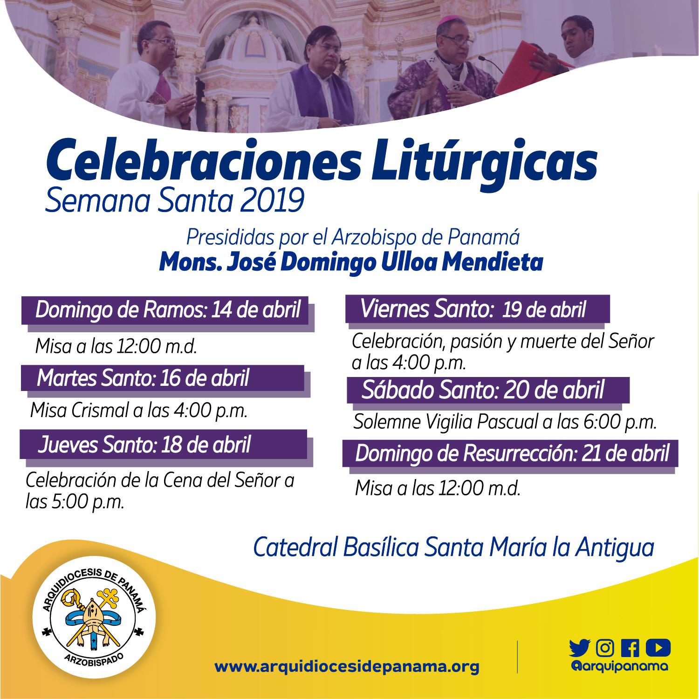 Celebraciones Litúrgicas  presididas por el Arzobispo de Panamá  - Semana Santa 2019