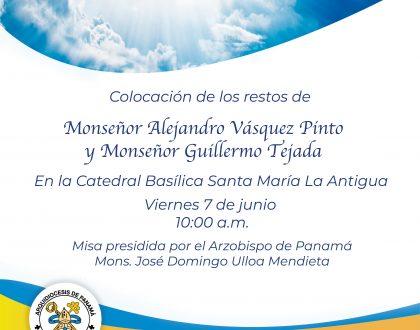 En la Catedral serán colocados los restos de monseñor Tejada y monseñor Vásquez Pinto
