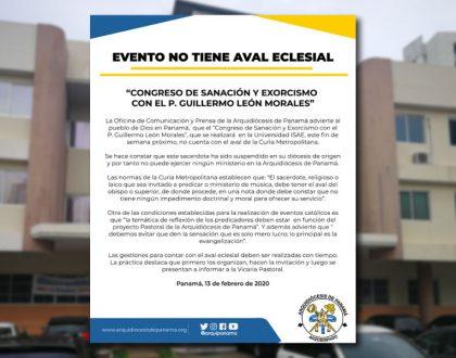 """EVENTO NO TIENE AVAL ECLESIAL """"Congreso de Sanación y Exorcismo con el P. Guillermo León Morales"""""""