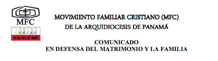 COMUNICADO DEL MOVIMIENTO FAMILIAR CRISTIANO EN DEFENSA DEL MATRIMONIO Y LA FAMILIA