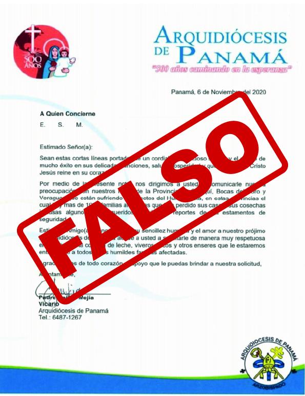 ATENCIÓN ANTE ESTAFAS - ARQUIDIÓCESIS DE PANAMÁ NO ESTÁ PIDIENDO DINERO PARA COMPRAR ALIMENTOS