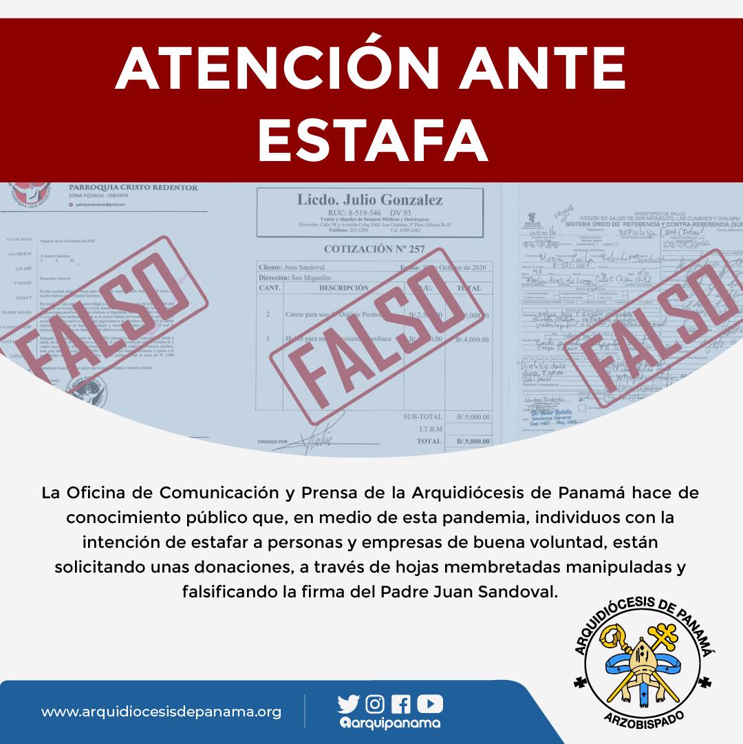 CONTINUAN CARTAS FALSAS PIDIENDO DONACIONES A NOMBRE DE SACERDOTE